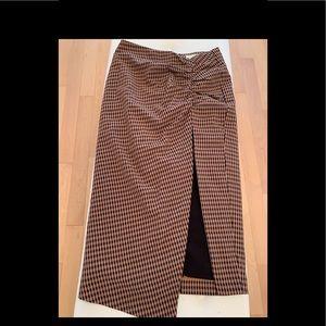 Black check midi skirt
